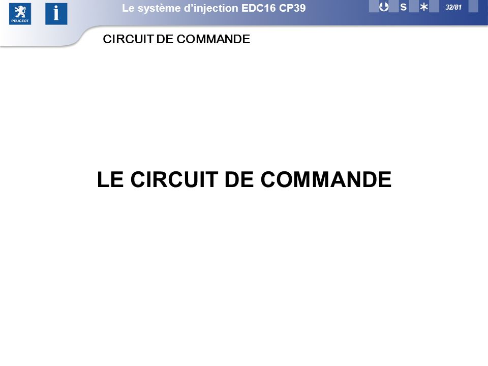 LE CIRCUIT DE COMMANDE CIRCUIT DE COMMANDE