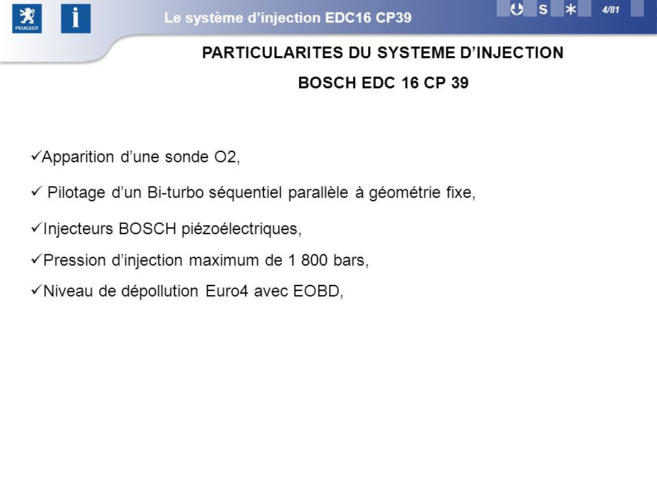 PARTICULARITES DU SYSTEME D'INJECTION