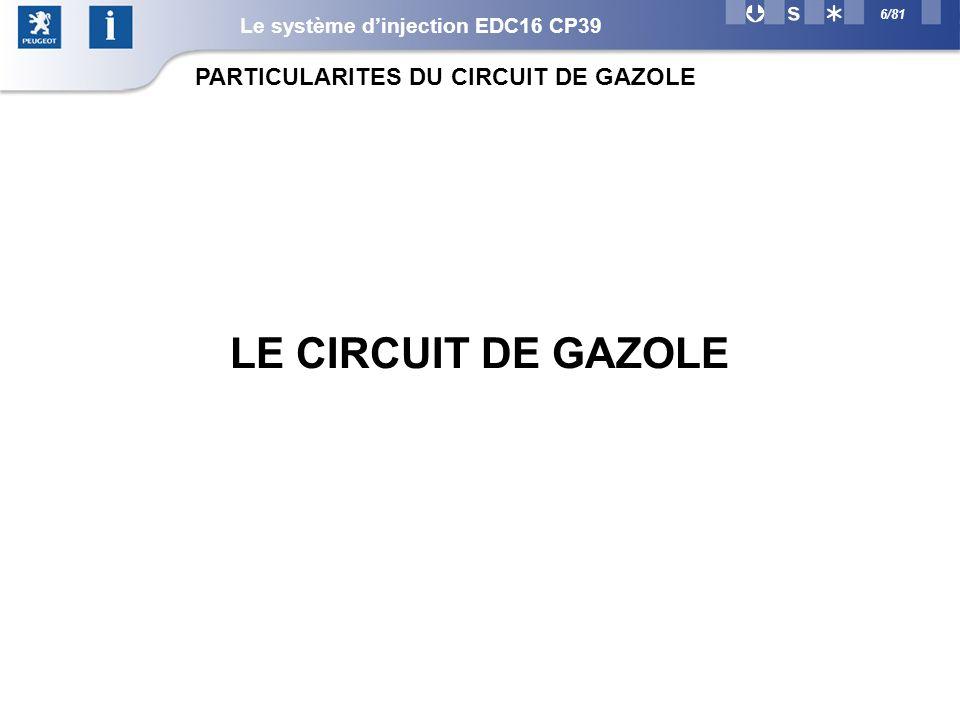 LE CIRCUIT DE GAZOLE PARTICULARITES DU CIRCUIT DE GAZOLE