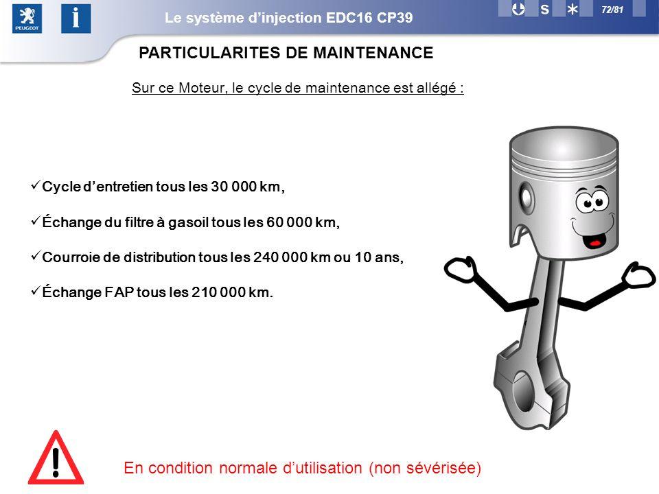 Sur ce Moteur, le cycle de maintenance est allégé :