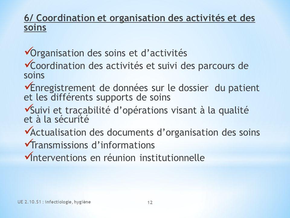 6/ Coordination et organisation des activités et des soins