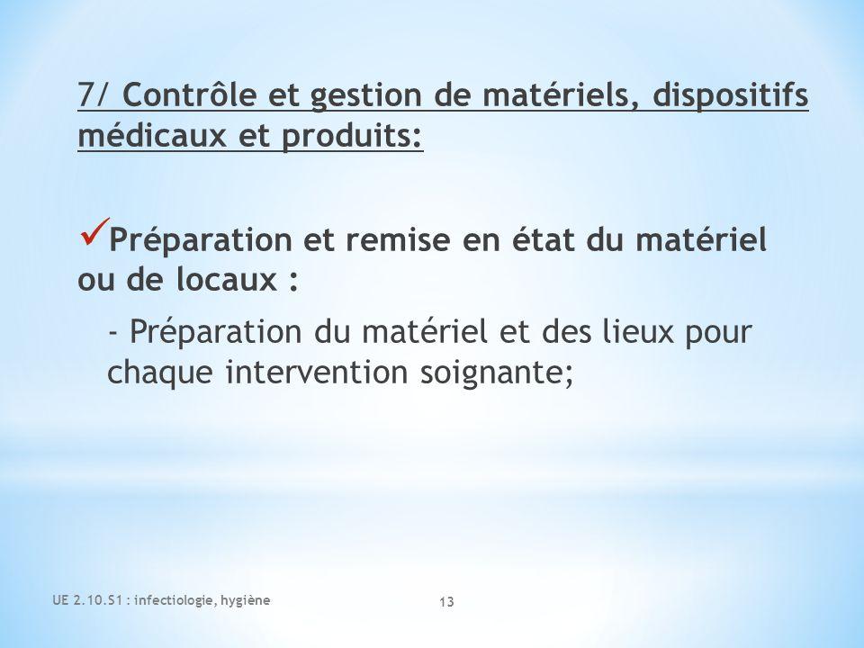 7/ Contrôle et gestion de matériels, dispositifs médicaux et produits: