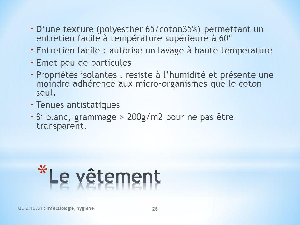 D'une texture (polyesther 65/coton35%) permettant un entretien facile à température supérieure à 60°
