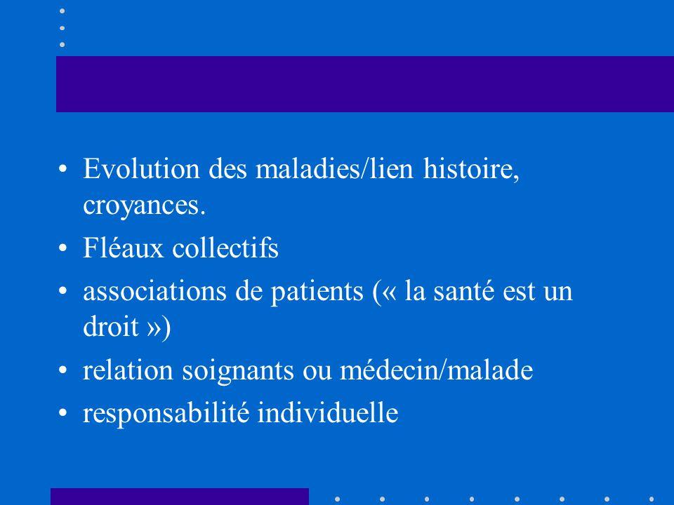 Evolution des maladies/lien histoire, croyances.