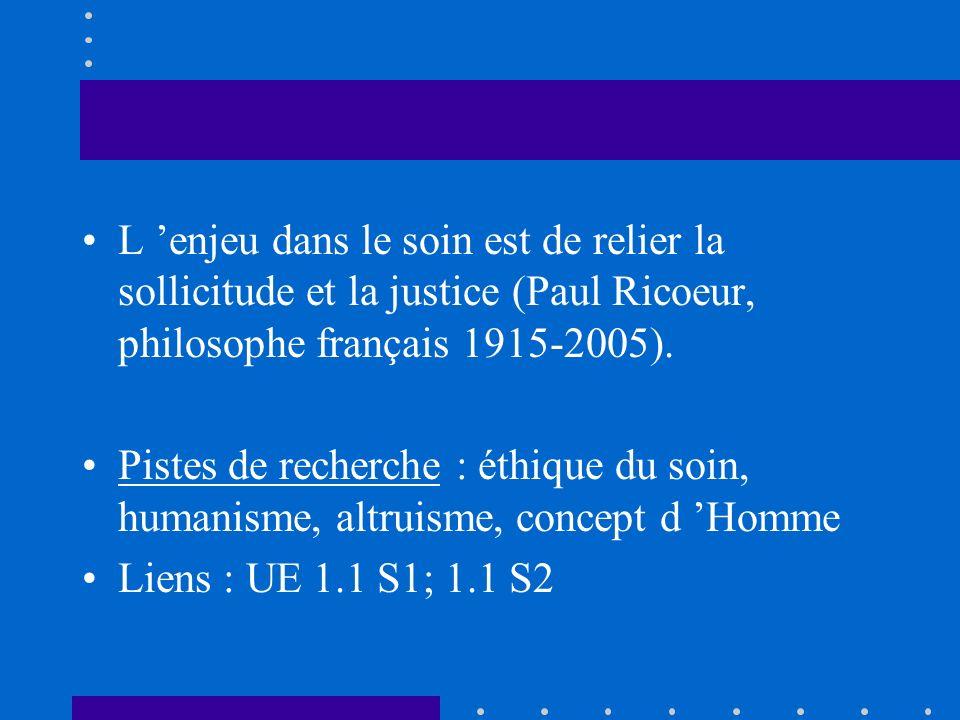 L 'enjeu dans le soin est de relier la sollicitude et la justice (Paul Ricoeur, philosophe français 1915-2005).