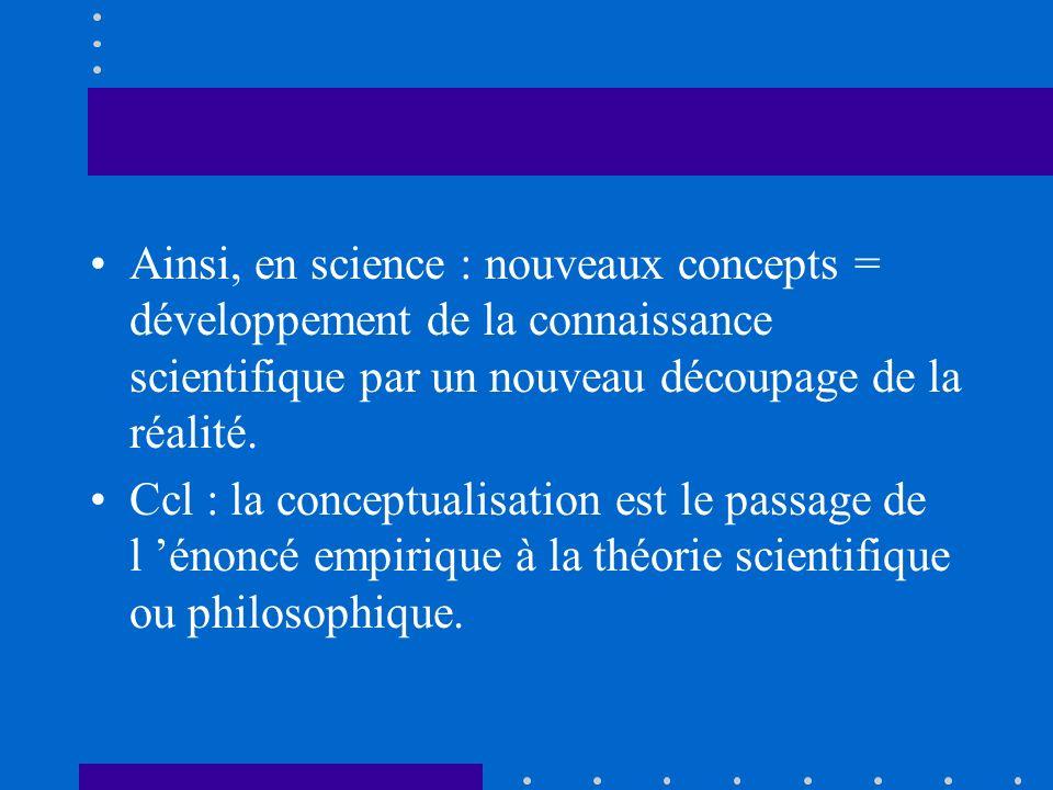 Ainsi, en science : nouveaux concepts = développement de la connaissance scientifique par un nouveau découpage de la réalité.