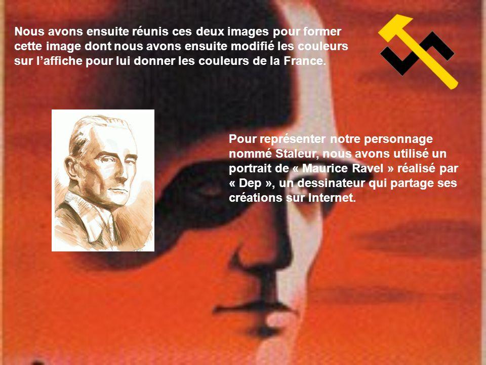 Nous avons ensuite réunis ces deux images pour former cette image dont nous avons ensuite modifié les couleurs sur l'affiche pour lui donner les couleurs de la France.
