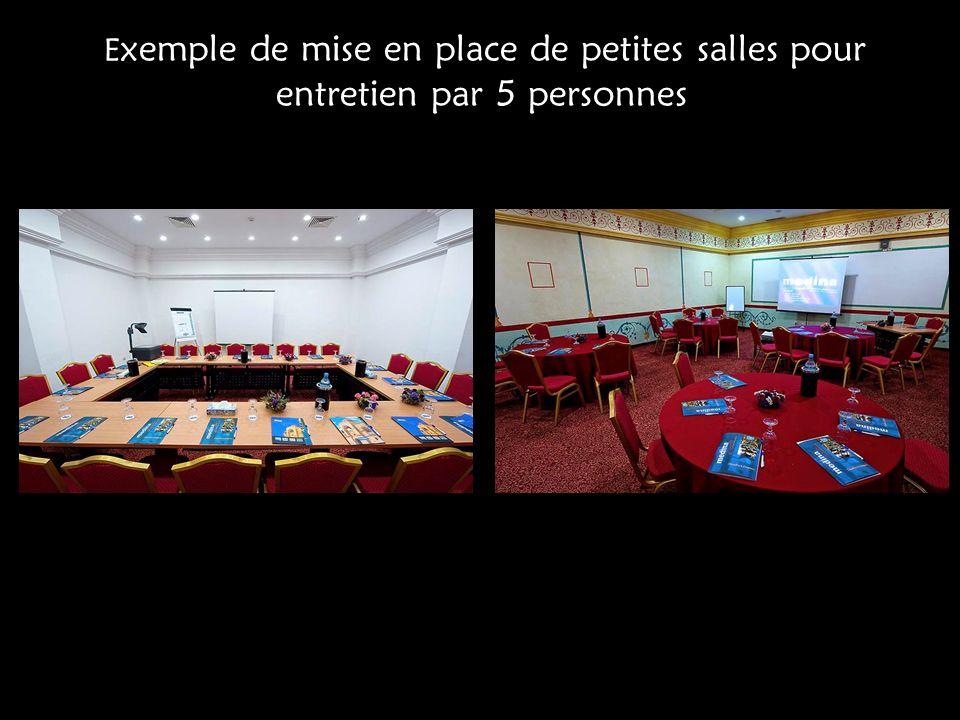 Exemple de mise en place de petites salles pour entretien par 5 personnes