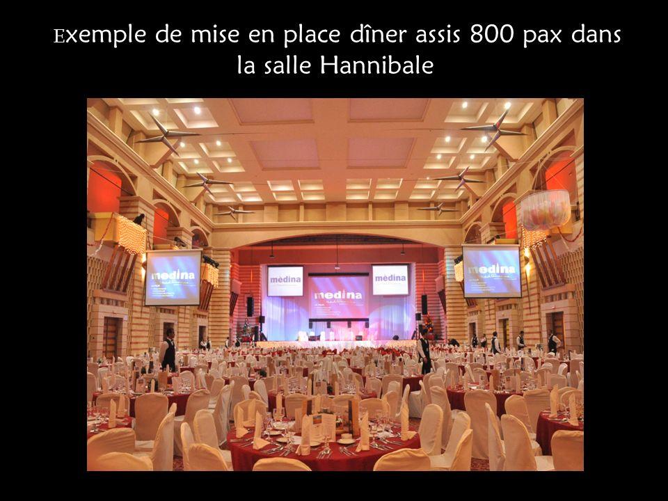 Exemple de mise en place dîner assis 800 pax dans la salle Hannibale