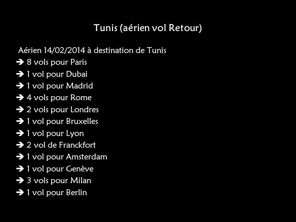 Tunis (aérien vol Retour)