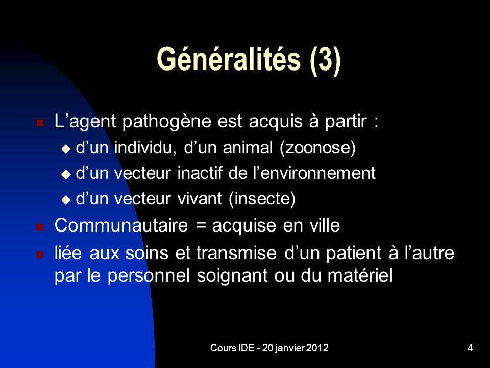Généralités (3) L'agent pathogène est acquis à partir :