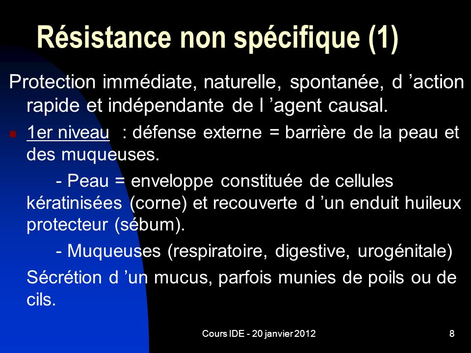 Résistance non spécifique (1)