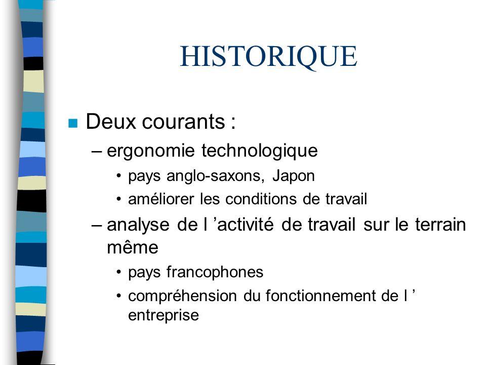 HISTORIQUE Deux courants : ergonomie technologique