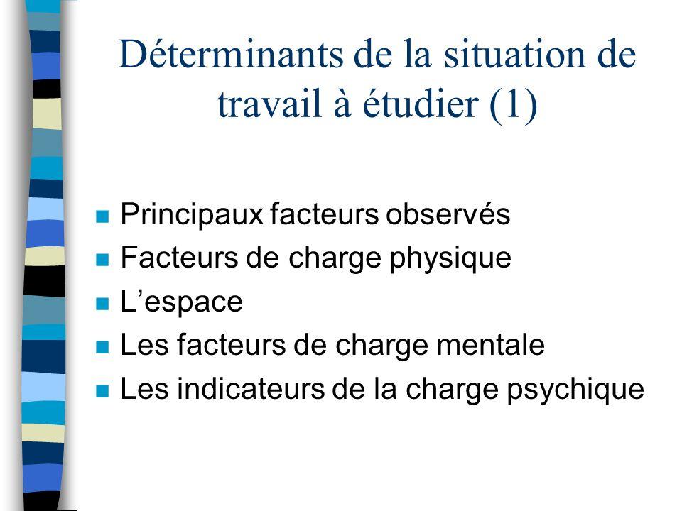 Déterminants de la situation de travail à étudier (1)