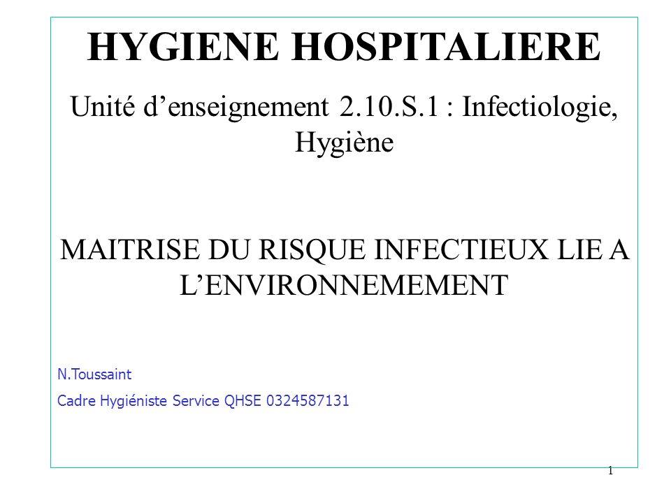 HYGIENE HOSPITALIEREUnité d'enseignement 2.10.S.1 : Infectiologie, Hygiène. MAITRISE DU RISQUE INFECTIEUX LIE A L'ENVIRONNEMEMENT.