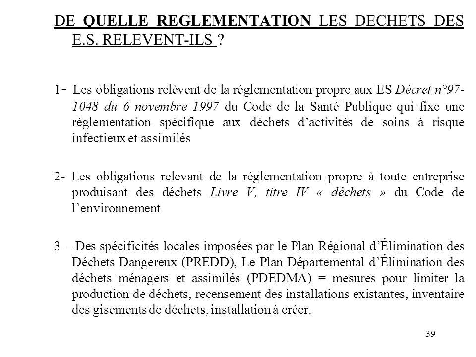 DE QUELLE REGLEMENTATION LES DECHETS DES E.S. RELEVENT-ILS