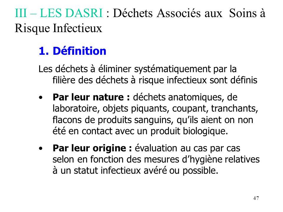 III – LES DASRI : Déchets Associés aux Soins à Risque Infectieux