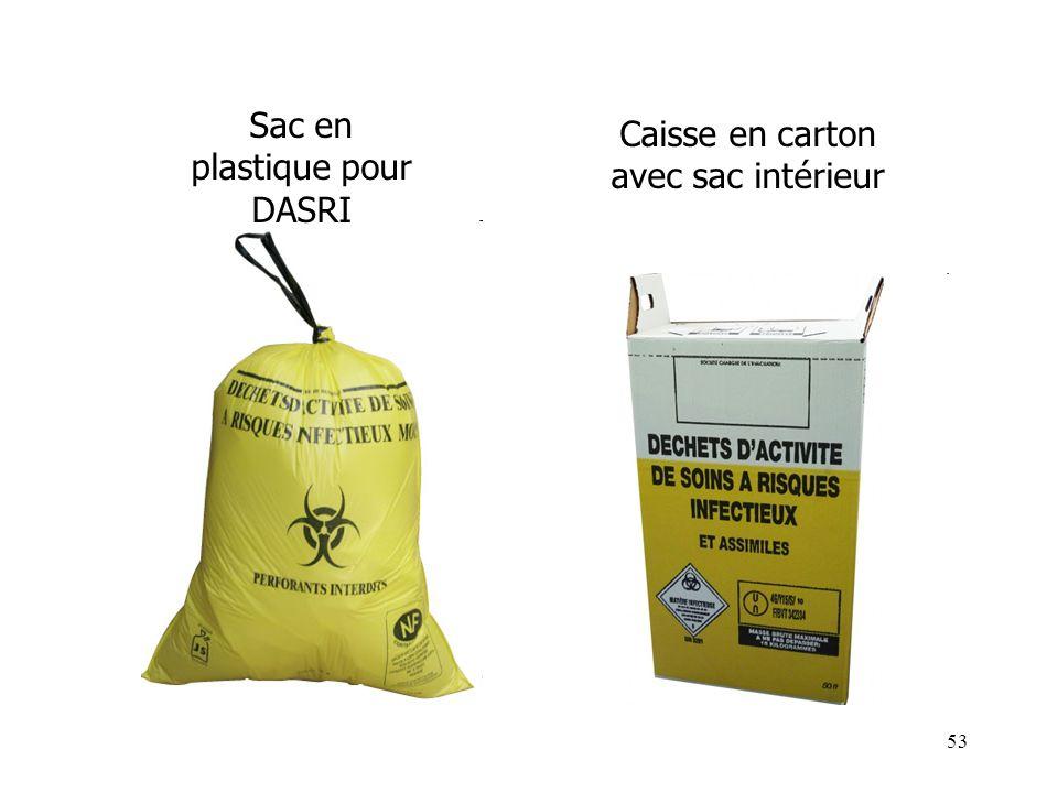 Sac en plastique pour DASRI Caisse en carton avec sac intérieur