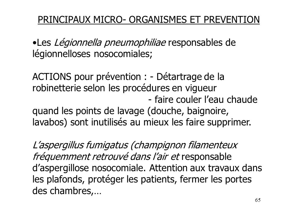 PRINCIPAUX MICRO- ORGANISMES ET PREVENTION