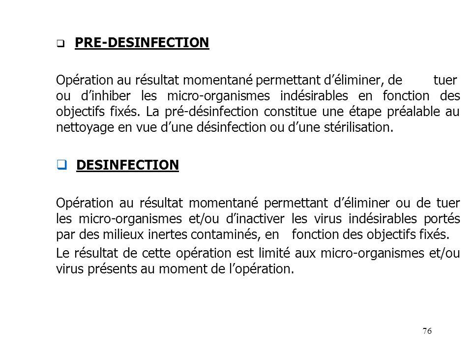 PRE-DESINFECTION