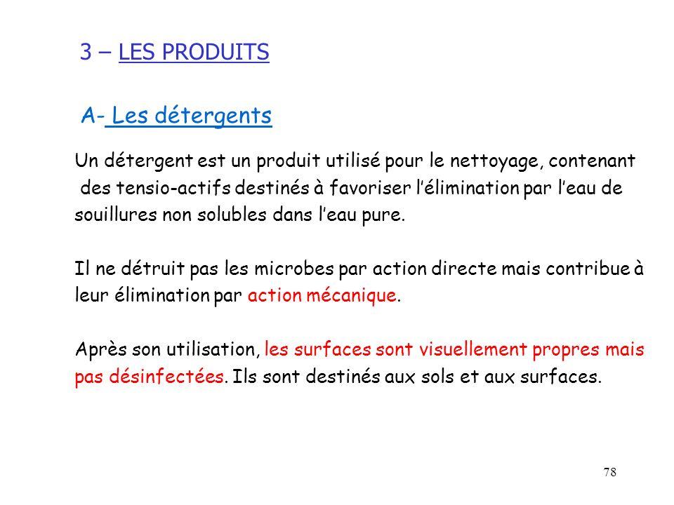 3 – LES PRODUITS A- Les détergents