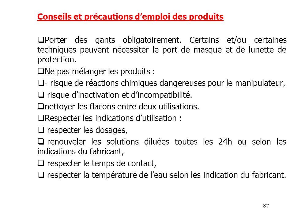 Conseils et précautions d'emploi des produits