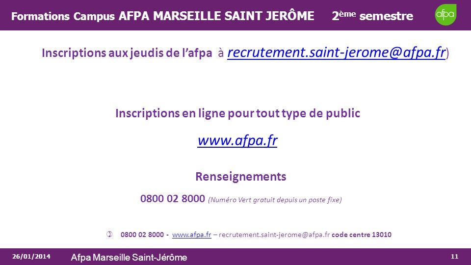 Formations Campus AFPA MARSEILLE SAINT JERÔME 2ème semestre