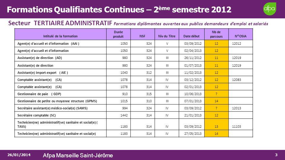 Formations Qualifiantes Continues – 2ème semestre 2012