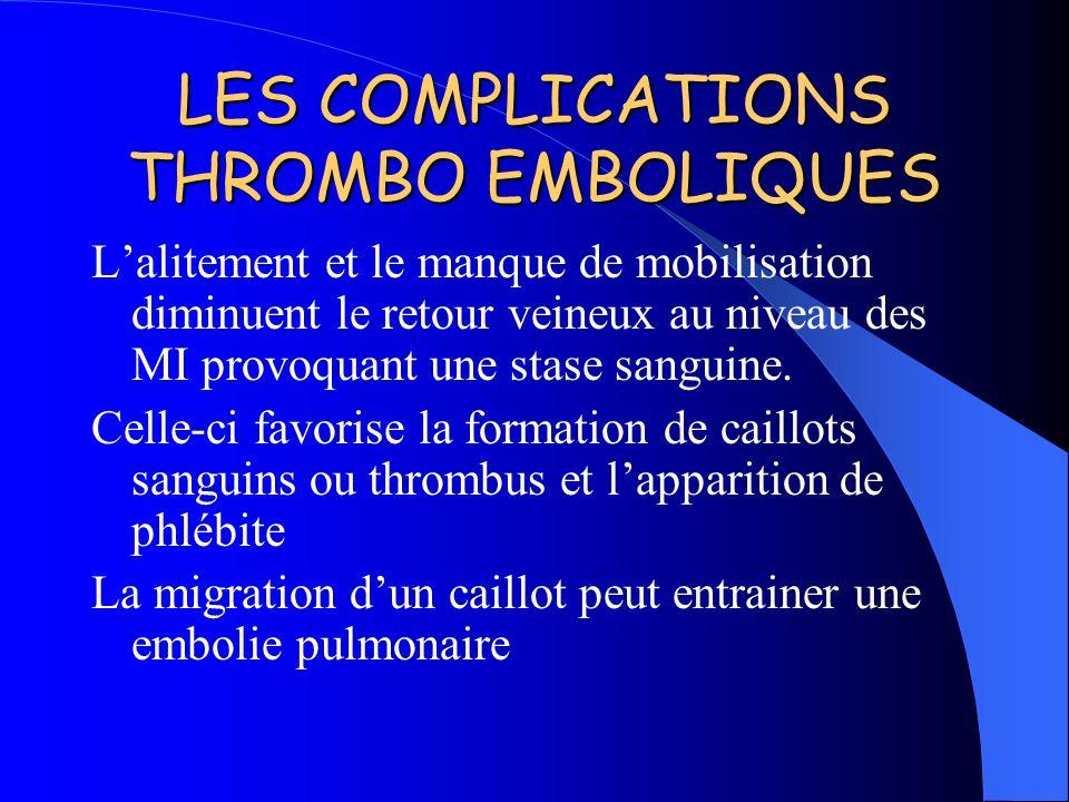 LES COMPLICATIONS THROMBO EMBOLIQUES