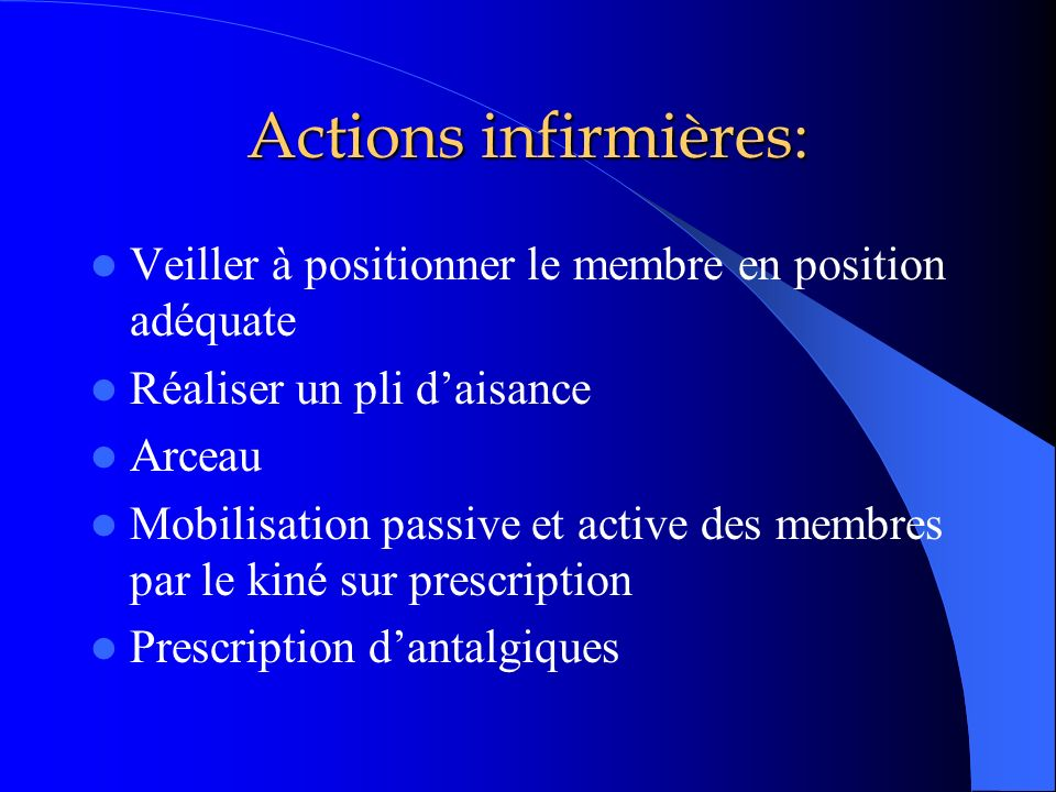Actions infirmières:Veiller à positionner le membre en position adéquate. Réaliser un pli d'aisance.