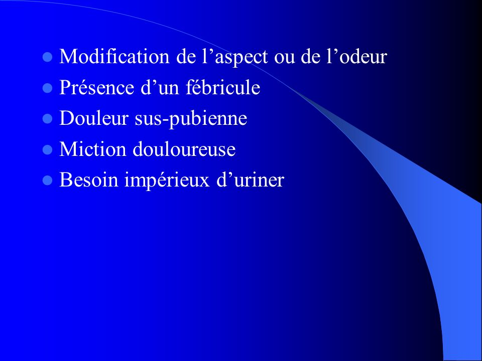 Modification de l'aspect ou de l'odeur