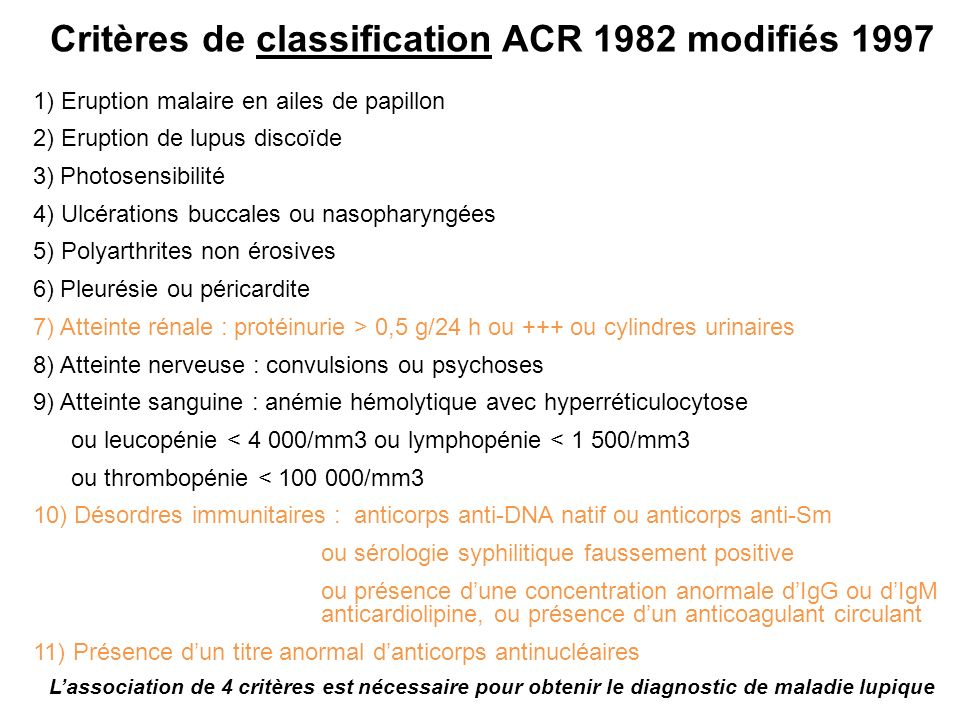 Critères de classification ACR 1982 modifiés 1997