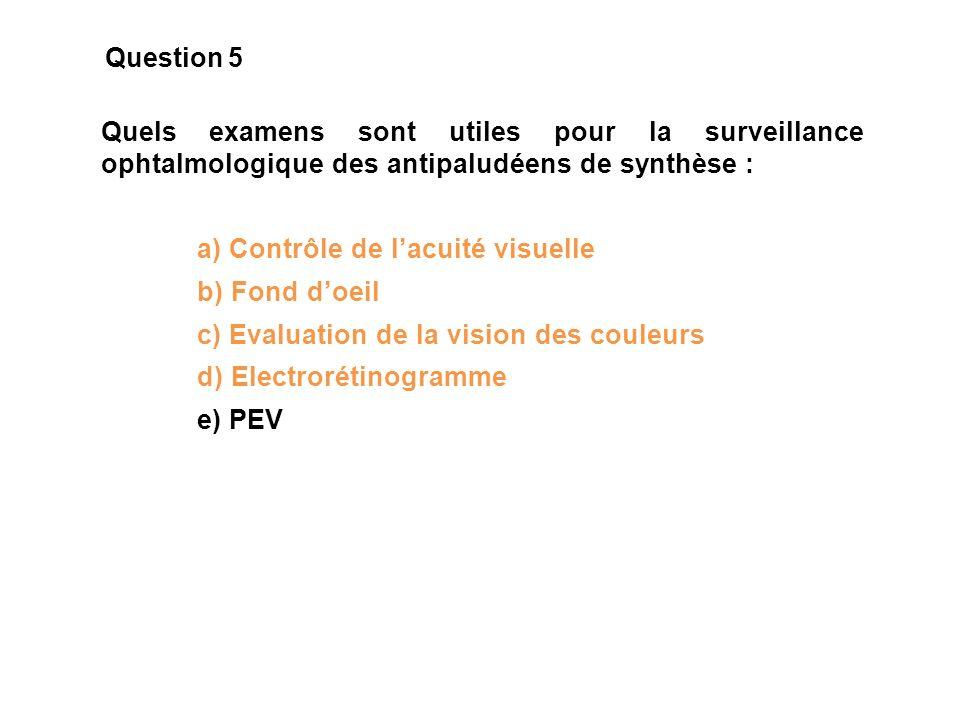 Question 5 Quels examens sont utiles pour la surveillance ophtalmologique des antipaludéens de synthèse :