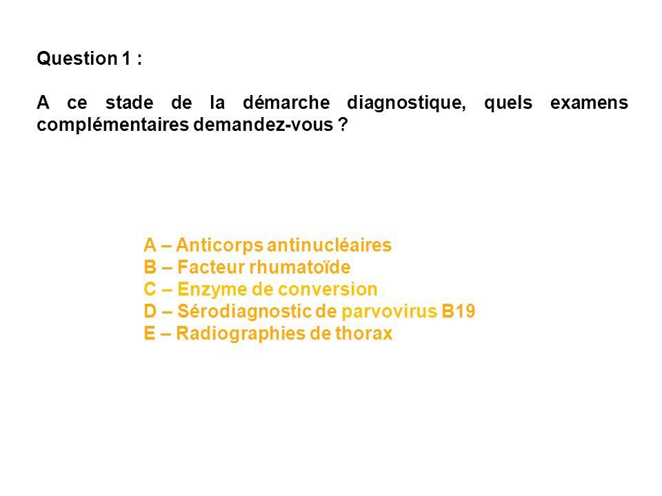 Question 1 : A ce stade de la démarche diagnostique, quels examens complémentaires demandez-vous A – Anticorps antinucléaires.