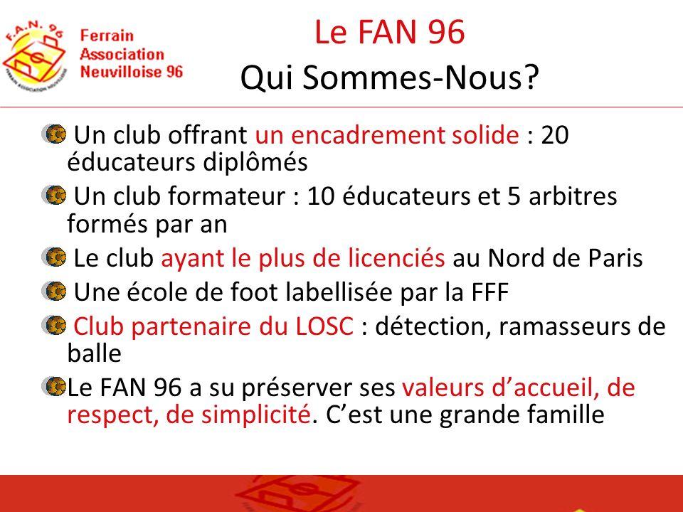 Le FAN 96 Qui Sommes-Nous Un club offrant un encadrement solide : 20 éducateurs diplômés.