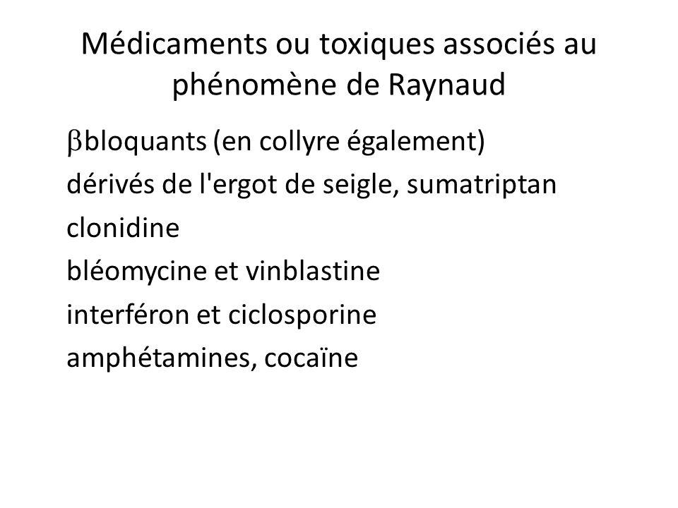 Médicaments ou toxiques associés au phénomène de Raynaud
