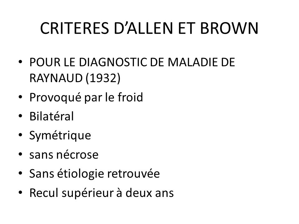 CRITERES D'ALLEN ET BROWN