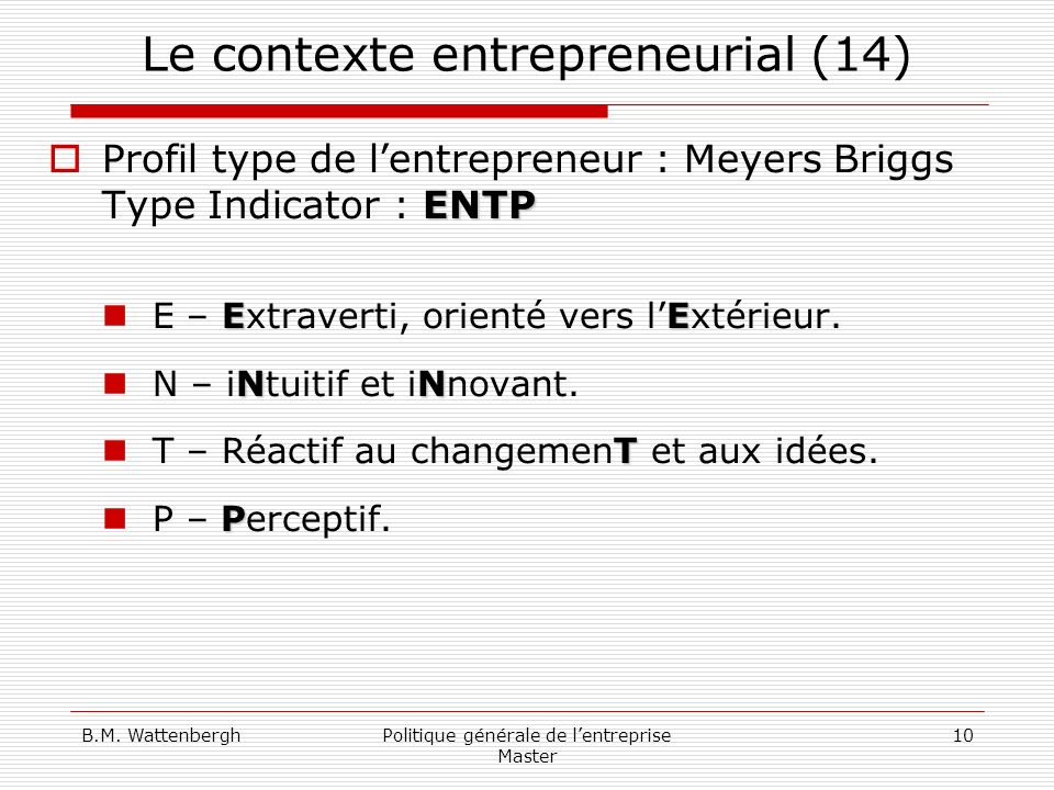 Le contexte entrepreneurial (14)