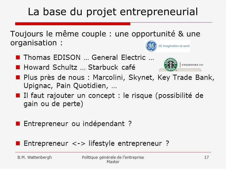 La base du projet entrepreneurial