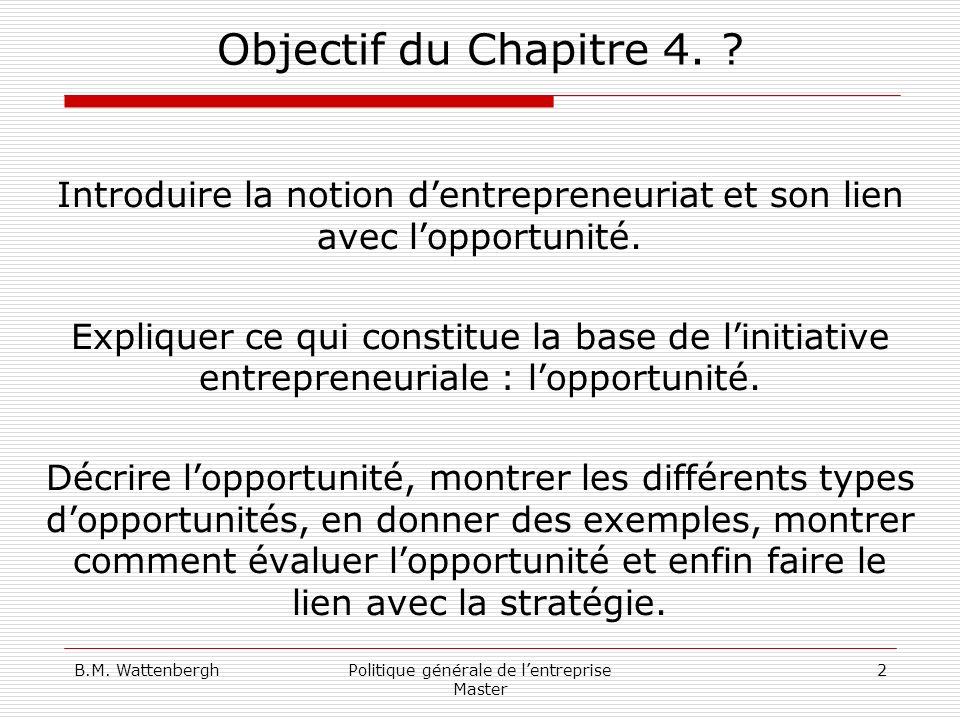 Objectif du Chapitre 4. Introduire la notion d'entrepreneuriat et son lien avec l'opportunité.
