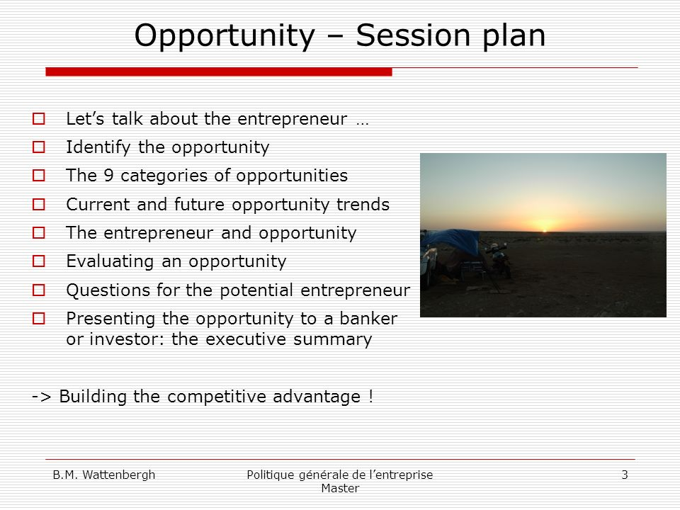 Opportunity – Session plan