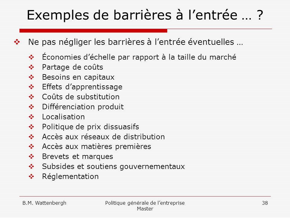 Exemples de barrières à l'entrée …