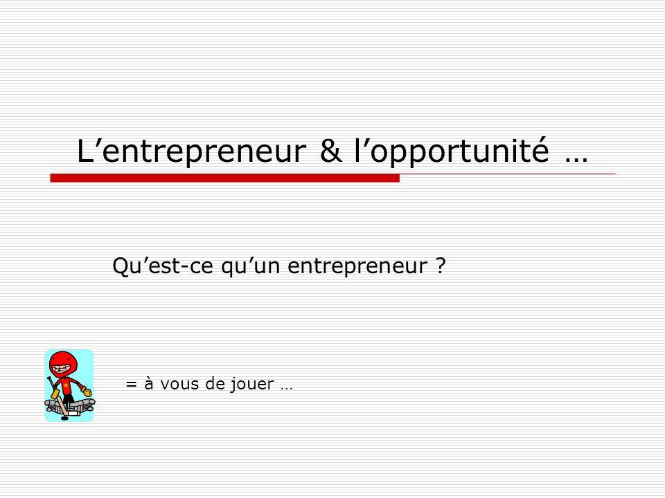 L'entrepreneur & l'opportunité …