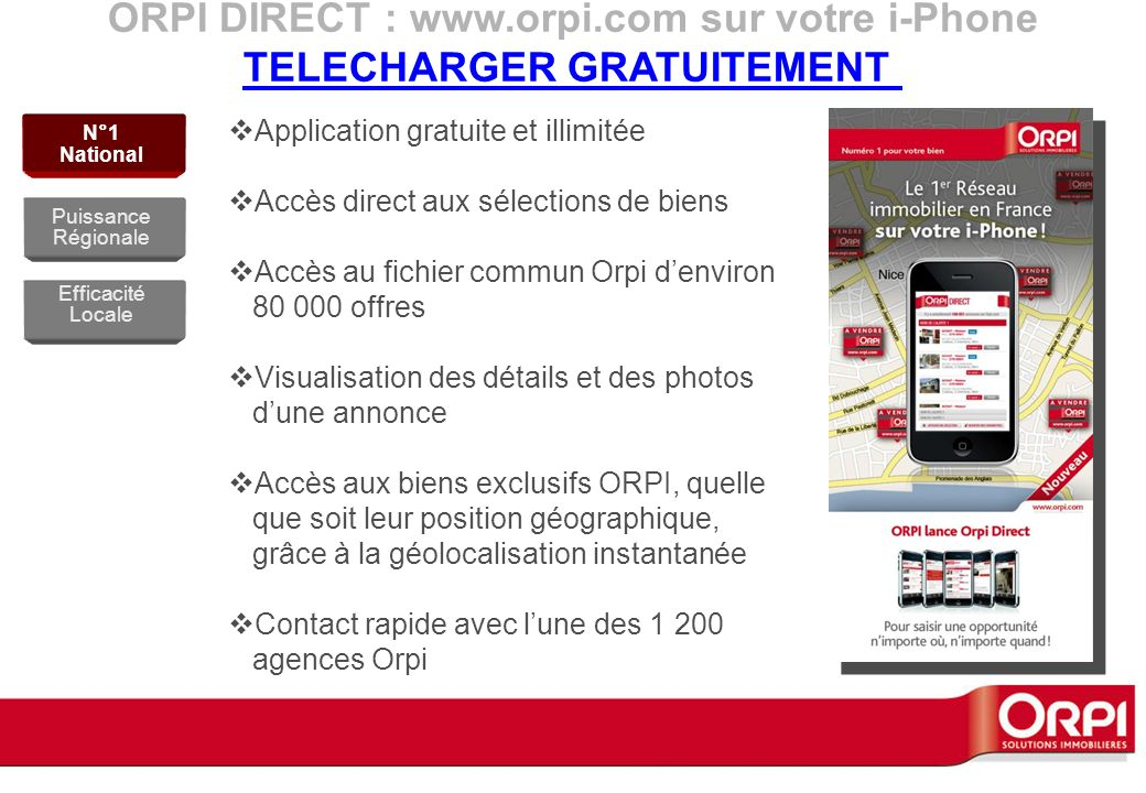 ORPI DIRECT : www.orpi.com sur votre i-Phone TELECHARGER GRATUITEMENT