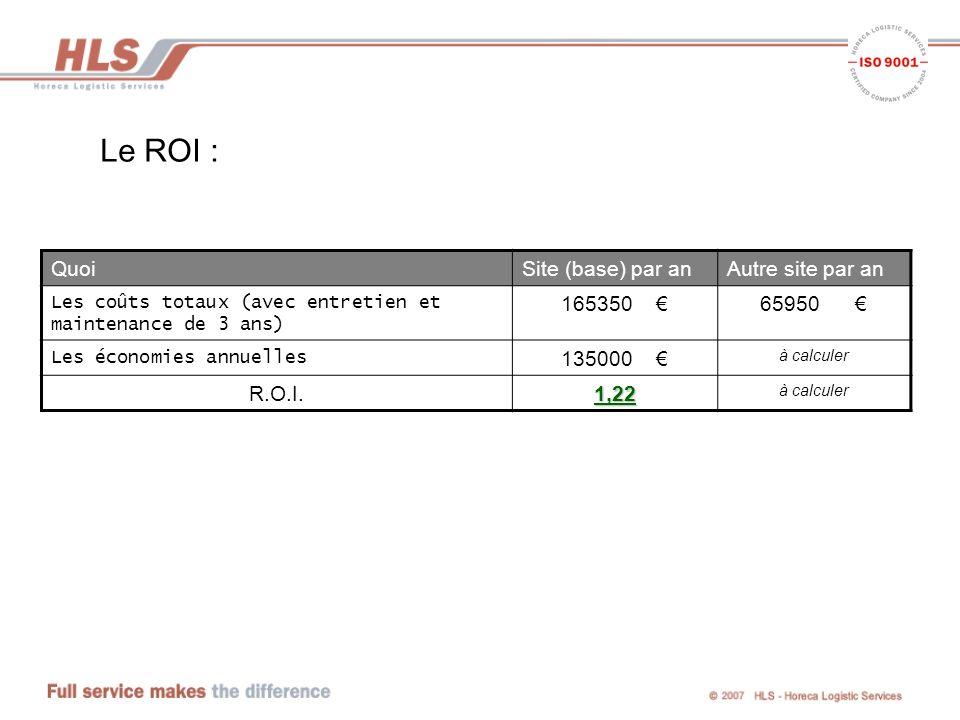 Le ROI : Quoi Site (base) par an Autre site par an 165350 € 65950 €