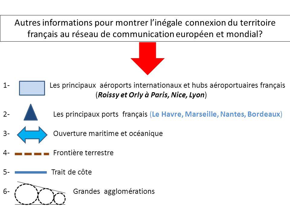 Autres informations pour montrer l'inégale connexion du territoire français au réseau de communication européen et mondial