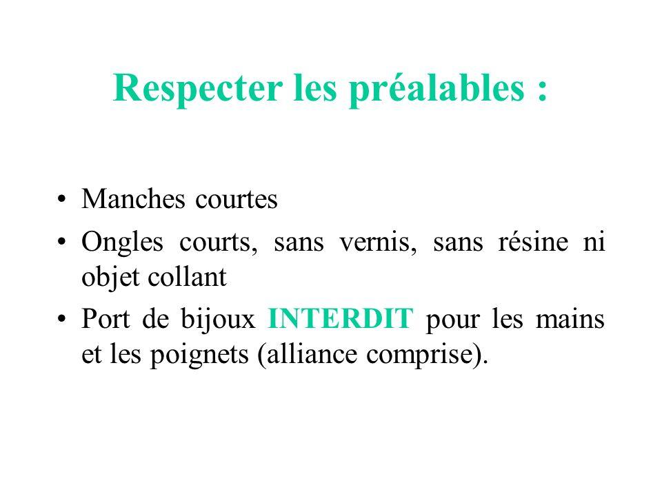 Respecter les préalables :