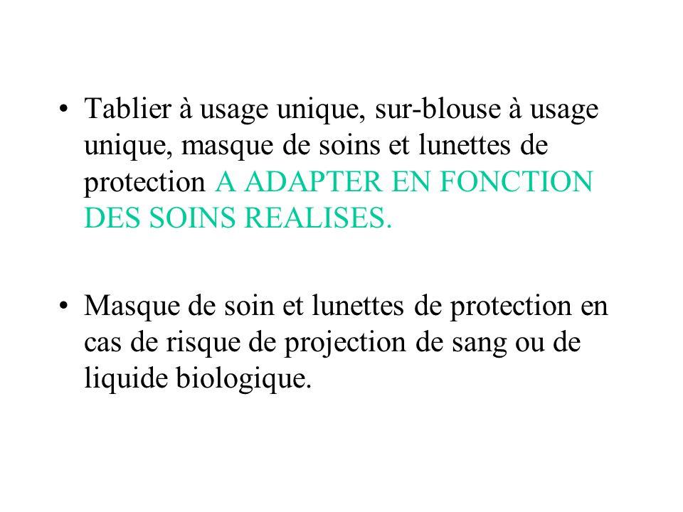 Tablier à usage unique, sur-blouse à usage unique, masque de soins et lunettes de protection A ADAPTER EN FONCTION DES SOINS REALISES.