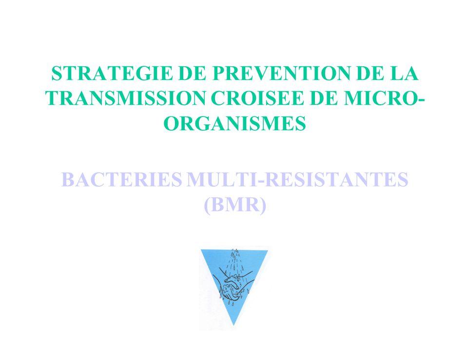 STRATEGIE DE PREVENTION DE LA TRANSMISSION CROISEE DE MICRO-ORGANISMES BACTERIES MULTI-RESISTANTES (BMR)