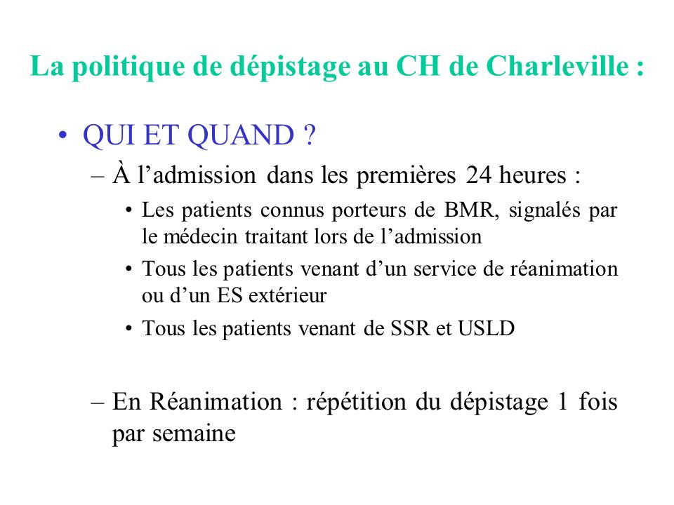 La politique de dépistage au CH de Charleville :